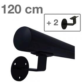 Zwarte Trapleuning 120 cm + 2 houders