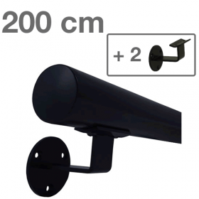 Zwarte Trapleuning 200 cm + 2 houders