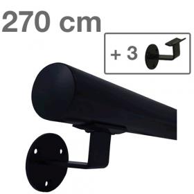 Zwarte Trapleuning 270 cm + 3 houders