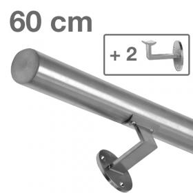 RVS Geborsteld Trapleuning 60 cm + 2 houders