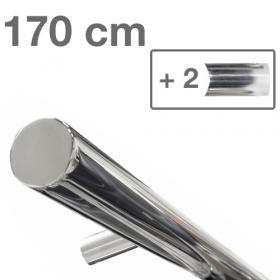 RVS design trapleuning 170 cm + 2 houders - Gepolijst