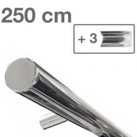 RVS design trapleuning 250 cm + 3 houders - Gepolijst