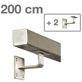 RVS Vierkante Trapleuning 200 cm + 2 houders