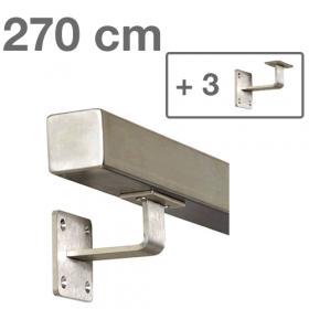 RVS Vierkante Trapleuning 270 cm + 3 houders